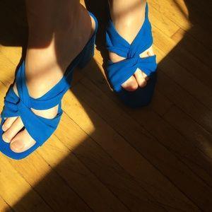 Cobalt blue stack heel sandals